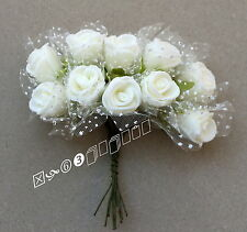 100 White Foam Mini Rose Flowers Surround White Mesh,Wedding Flowers (GF3)