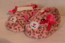 NEW Toddler Girl Slippers Large 9 - 10 Pink Cat Leopard Soft Faux Fur House Shoe