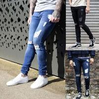 Fashion Mens Skinny Jeans Biker Destroyed Frayed Slim Fit Denim Ripped Pants New