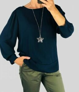 Marks & Spencer M&S Womens Ladies Navy Long Sleeve Chiffon Blouse Top Size 10-18