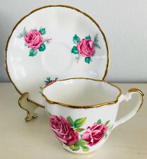 Salisbury Jason Bone China Cup & Saucer Fluted Edge Pink Roses Gold Trim England