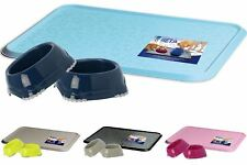 Pet Bowl Mat + 2 Smarty Bowls Non Slip Dog Cat Kitten Dish Feeding Water
