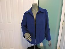 Womens Chico's Lined Royal Blue Open Front Blazer Jacket Sz 1 (8-10) EUC