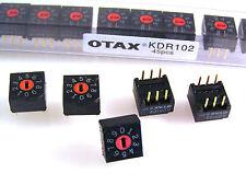 OTAX KDR102 PCB Mount COMMUTATORE ROTATIVO 0 a 9 filettato 5 PEZZI OM0545
