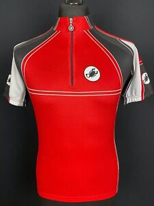 Castelli Cycling Jersey Men's Size S Short Sleeved 1/4 Zip Red Bike Shirt Trikot