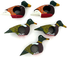 Set of 5 Hand Painted Wooden Duck Napkin Rings Made in Philippines