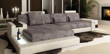 Ecksofa Couch Polster Wohnlandschaft Garnitur Ecke Stoff Textil Sofa GrauWeiß