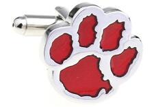 Tiger Paw Cufflinks Silver Red Clemson Wedding Fancy Gift Box Free Ship USA