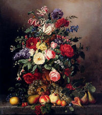"""Art oil painting A Still Life With Assorted flowers with fruits on canvas 36"""""""