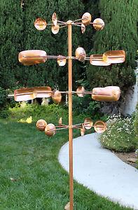 Stanwood Wind Sculpture - Kinetic Copper Quadruple Spinner - Quaking Aspen