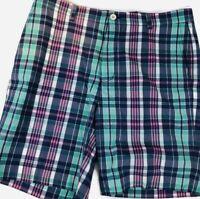 Mens VINEYARD VINES BREAKER SHORT Plaid Flat Front Shorts Size 36
