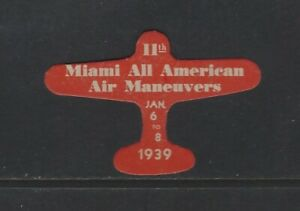UNITED STATES - 1939 11th MIAMI ALL AMERICAN AIR MANEUVERS POSTER STAMP MLH