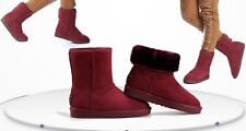 Women's Winter Leather/Suede Ankle Snow Boots Red  Colors UK 6