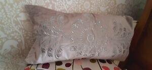 Dorma silver grey Hertford velvet boudoir cushion