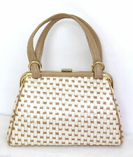 TRUE VINTAGE PIN UP IVORY BEIGE PLASTIC COATED STRAW FRAMED BAG HANDBAG PURSE