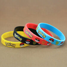 Lot 4 Pieces  Pokemon Go Pikach Wristband Silicone Bracelet Party Gifts Bangle
