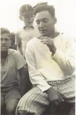 VINTAGE PHOTO: Handsome YOUNG BASEBALL PLAYER w HAND on CROTCH w YOUNG FRIENDS