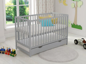 Classic Baby Cot Bed 120x60cm with Covered Drawer & Aloe Vera Foam Mattress