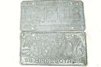 "SUPER VINTAGE!!! ""Minnesota License Plates"" 1958-1959 and 1962-1963 Lot of 2"