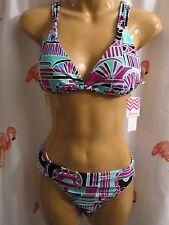Roxy/Raisins M Magenta 2 Pc Bikini Swimsuit Oaxaca Trianlge Cocoa Beach Pant