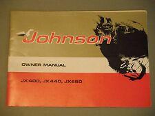 Vintage Johnson JX 400 / JX 440 / JX 650 Snowmobile Owner's Manual
