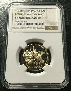 Trinidad $100  1981 Gold NGC PF70UC Top grade  Mintage 400 ps only
