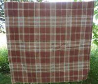 """Vintage Beige Brown Plaid Tartan Throw Car Auto Blanket 35"""" x 60"""" Cabin Cottage"""