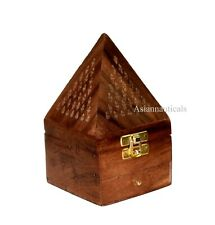 Wooden Pyramid Cone/Charcoal Burner with Storage Net Carving