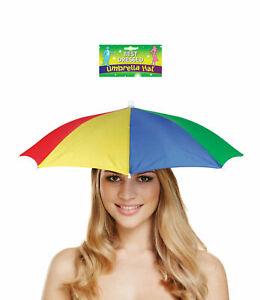 Adults Umbrella Hat Festival Funny Multicolour Unisex Rain Hat Fancy Dress