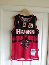 NWT Atlanta Hawks Dikembe Mutumbo Basketball Jersey Red Throwback Swingman M