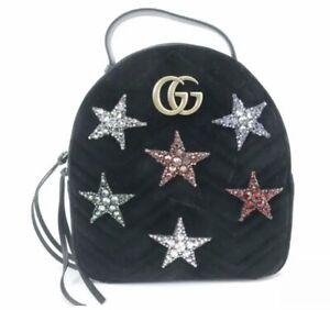 Gucci GG Marmont Black Velvet Crystal Stars Backpack W/Box #524568, NWT