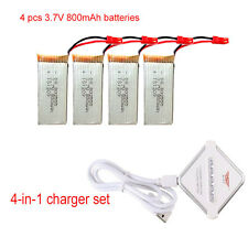 RC 4 pcs 800mAh Battery+JST 4in1 Charger Spare Parts For JJRC H12C F181 QuadX1