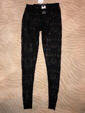 bebe Black All-over Lace Footless Leggings Small Nylon $49