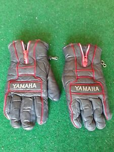 VINTAGE YAMAHA Black Leather - Snowmobile - Motorcycle - Gloves - Mens Size M