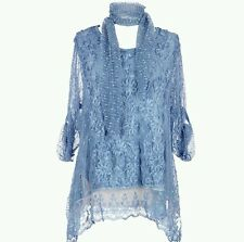Women's New Italian Lagenlook Quirky 2 pc Mesh Sequin Flower lace 3D Tunic Top