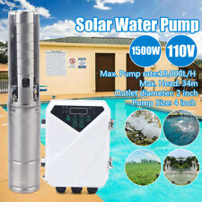 Solar Water Pump Submersible Mppt Controller Kit Deep Bore Well 1500w 110v 2hp