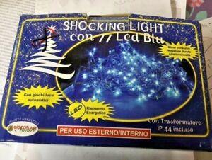 77 Shocking LED Bleu Lumières de Noel Usage Interne Extérieur IP44 Arbre de Noël