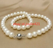 "Real 8mm White South Sea Shell Pearl Necklace 18"" AAA"