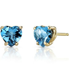 14K 14ct Yellow Gold 1.50 Carats Swiss Blue Topaz Stud Earrings Heart 6 x 6 mm