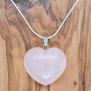 """Rose Quartz Heart Necklace 28mm with 20"""" Silver Chain Love Health Positivity"""