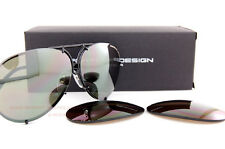 New Porsche Design Sunglasses P8478 8478 D Black Interchangeable Lenses SZ 66
