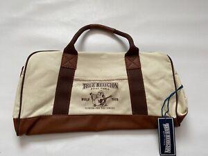 New True Religion Canvas Duffle Bag Color Cream/ Tan One Size