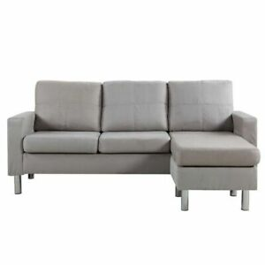 Divano Roma Furniture Modern Sectional Sofa (EXP16-MF/GRY) - Gray