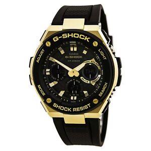 Casio Men's Watch Ana-Digi Black and Gold Tone Dial Black Strap GSTS100G-1A