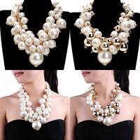 Fashion Statement Chain Resin Pearl Choker Chunky Pendant Bib Necklace Jewelry