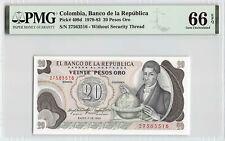Colombia 1983 P-409d PMG Gem UNC 66 EPQ 20 Pesos Oro