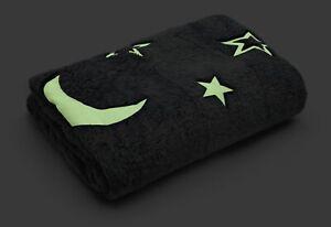 Grey Glow in The Dark Moon and Stars Fleece Blanket 127x152cm