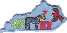 """KY""- KENTUCKY STATE SHAPE PATCH-Iron On Embroidered Applique/South/Derby/Horses"