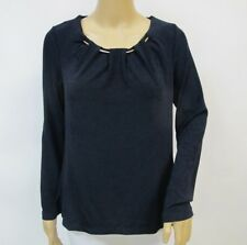 Chicos Top Dark Blue Travelers Long Sleeve Gold Chain Detail Top Sz 3
