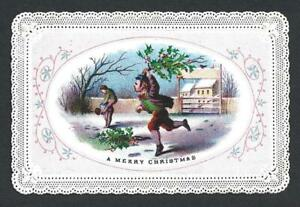 Z33 - BOY WITH HOLLY - CANTON - EARLY VICTORIAN XMAS CARD WITH PAPER LACE EDGES